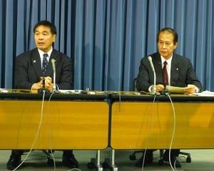 会議終了後に会議の内容を説明する馳文科相と鎌田座長