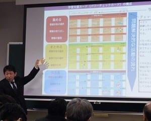 学習支援カードについて説明する木村教諭