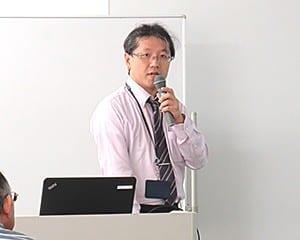 防災教育について語る寺川係長