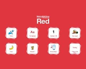 フルーツや動物などをネーティブの発音で指導できるデジタル版(Red)