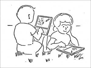 アラン・ケイ自筆のイラスト=A Personal Computer for Children of All Ages:Alan C. Kay /Xerox Palo Alto Research Center