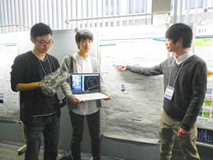 (右から)千葉県立東葛飾高校の西澤君、志村君、花田君