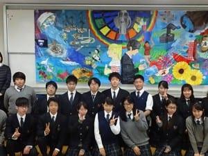 フランスの生徒と共同制作した壁画